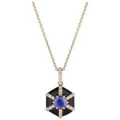 Goshwara Hexagon Black Enamel with Sapphire and Diamonds Pendant