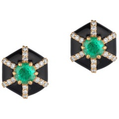 Goshwara Hexagon Shape Black Enamel with Emerald and Diamonds Stud Earrings