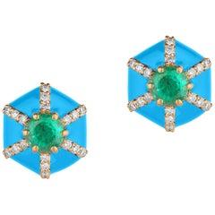 Goshwara Hexagon Shape Turquoise Enamel with Emerald and Diamonds Stud Earrings