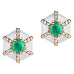 Goshwara Hexagon Shape White Enamel with Emerald and Diamonds Stud Earrings