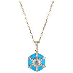 Goshwara Hexagon Turquoise Enamel with Diamonds Pendant