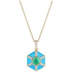 Goshwara Hexagon Turquoise Enamel with Emerald and Diamonds Pendant