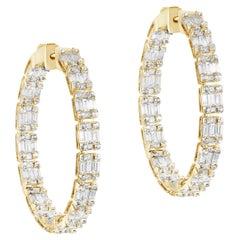 Goshwara Inside-Outside Baguette and Princess Diamond Hoop Earring