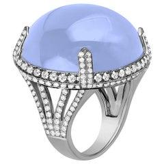 Goshwara Large Blue Chalcedony Cabochon and Diamond Ring
