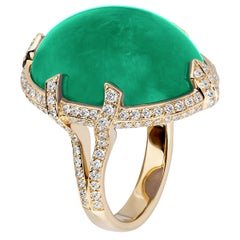 Goshwara Large Oval Shape Emerald Ring with Diamonds