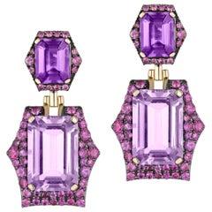 Goshwara Lavender Amethyst, Amethyst and Pink Sapphire Earrings