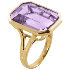 Goshwara Emerald Cut Lavender Amethyst  Ring