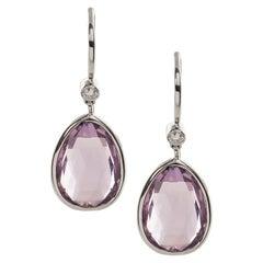 Goshwara Lavender Amethyst Pear Shape with Diamonds on Wire Earrings