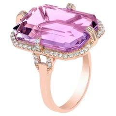 Goshwara Lavender Amethyst with Diamonds in Emerald Cut Ring