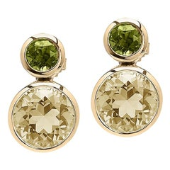 Goshwara Lemon Quartz and Peridot Double Bezel Earrings