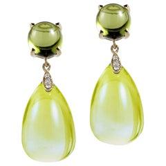 Goshwara Lemon Quartz and Peridot Drop Earrings
