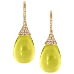 Goshwara Lemon Quartz Drop and Diamond Cap Earrings