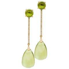 Goshwara Lemon Quartz Drop and Peridot Cabochon with Diamond Earrings
