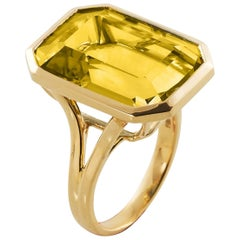 Goshwara Emerald Cut Lemon Quartz  Ring