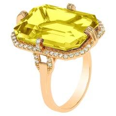 Goshwara Emerald Cut Lemon Quartz And Diamond Ring