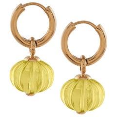 Goshwara Lemon Quartz Fluted Bead Earrings on Hoops