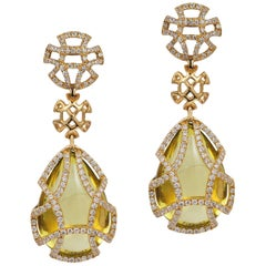 Goshwara Lemon Quartz Teardrop and Diamond Earrings