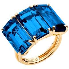 Goshwara London Blue Topaz 3-Stone Emerald Cut Ring