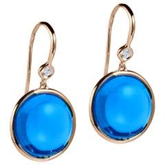 Goshwara London Blue Topaz and Diamond Disc Earrings