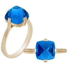 Goshwara London Blue Topaz and Diamond Ring