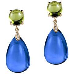 Goshwara London Blue Topaz and Peridot Cabochon with Diamond Earrings