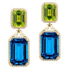 Goshwara London Blue Topaz and Peridot Emerald with Diamond Earrings
