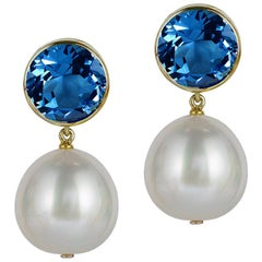 Goshwara London Blue Topaz Bezel Set with Pearl Earrings