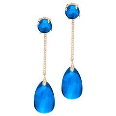 Goshwara London Blue Topaz Cab, Drop with Diamonds Earrings
