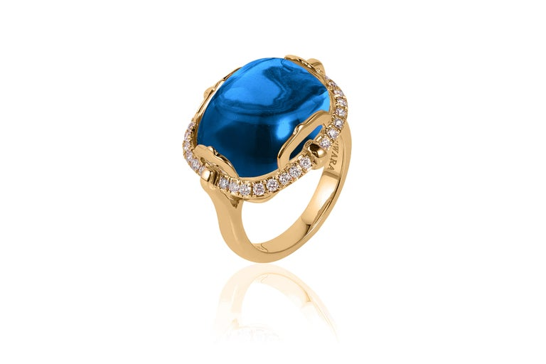 Contemporary Goshwara London Blue Topaz Cushion Cabochon and Diamond Ring For Sale