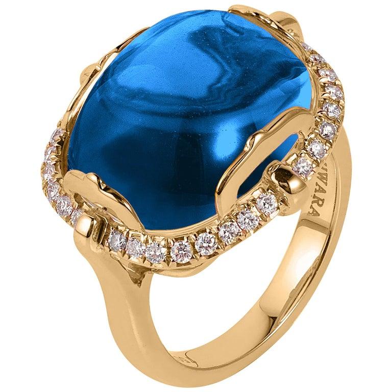 Goshwara London Blue Topaz Cushion Cabochon and Diamond Ring For Sale