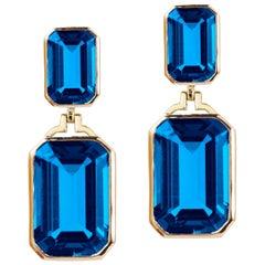 Goshwara London Blue Topaz Double Emerald Cut Earrings