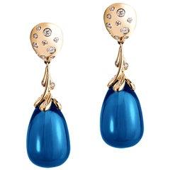 Goshwara London Blue Topaz Drops and Diamond Earrings