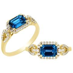 Goshwara London Blue Topaz Emerald Cut and Diamond Ring