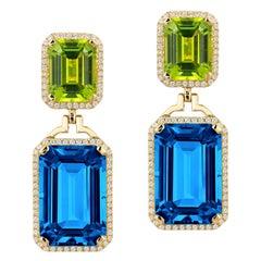 Goshwara London Blue Topaz Emerald Cut and Peridot with Diamonds Earrings