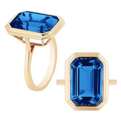 Goshwara London Blue Topaz Emerald Cut Bezel Set Ring