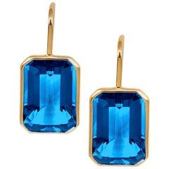 Goshwara London Blue Topaz Emerald Cut Earrings