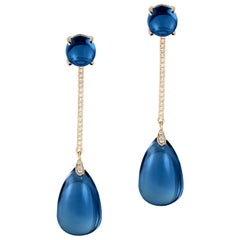 Goshwara London Blue Topaz Cab- Drop With Diamonds Earrings