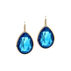 Goshwara London Blue Topaz Pear Shape on a Wire Earring