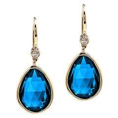 Goshwara London Blue Topaz Pear Shape with Diamonds on Wire Earrings