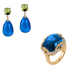 Goshwara London Blue Topaz-Peridot Cabochon Drop Earrings & Cabochon Ring