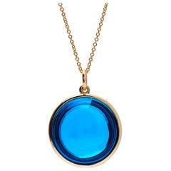 Goshwara London Blue Topaz Round Disc Pendant