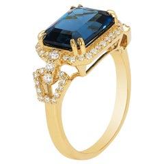 Goshwara London Blue Topaz Small East-West Emerald Cut Ring