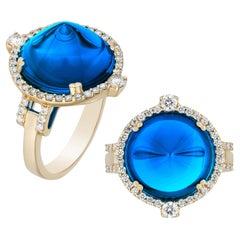 Goshwara London Blue Topaz Sugar Loaf and Diamond Ring