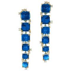 Goshwara London Blue Topaz Sugarloaf Cascade and Diamond Earrings
