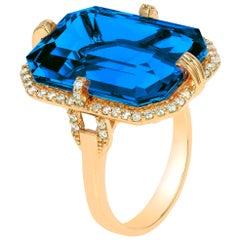 Goshwara London Blue Topaz with Diamonds Ring