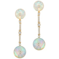 Goshwara Long Opal Bead with Diamonds Earrings