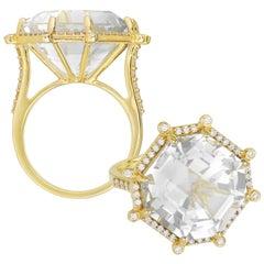 Goshwara Moon Quartz and Diamond Large Octagon Ring
