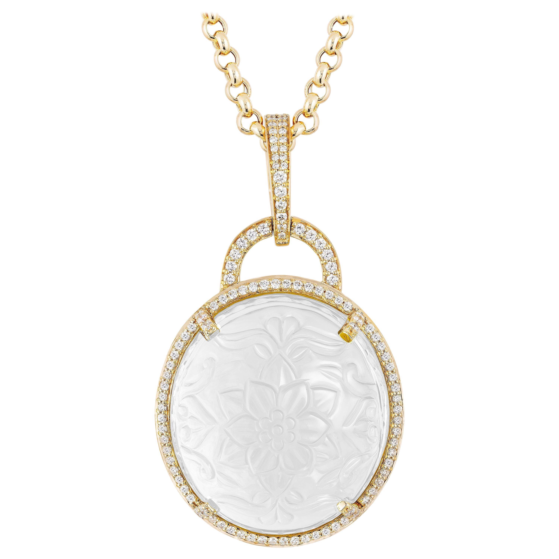 Goshwara Carved Moon Quartz And Diamonds Pendant