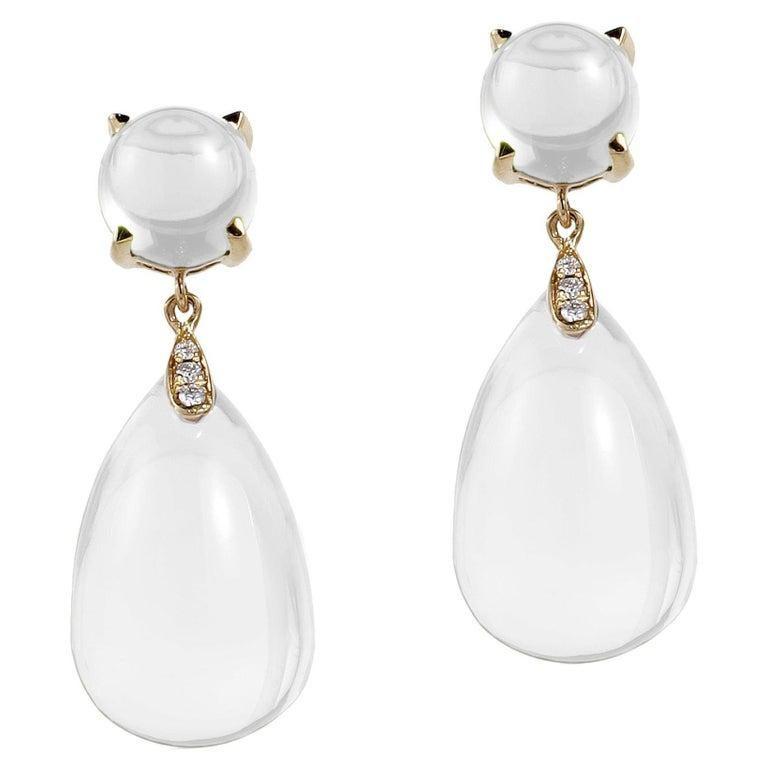 Goshwara Moon Quartz Drop and Moon Quartz with Diamond Earrings In New Condition In New York, NY