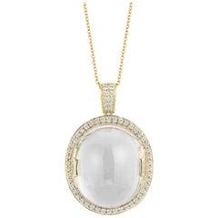 Goshwara Moon Quartz Oval Cabochon and Diamond Pendant